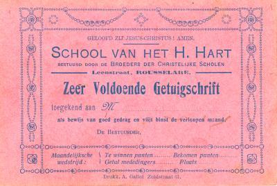 Getuigschrift School van het H.Hart, Roeselare,1933