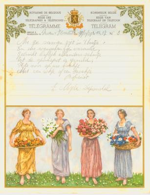 Huwelijkstelegram verzonden door de familie I. Myle-Duponchel