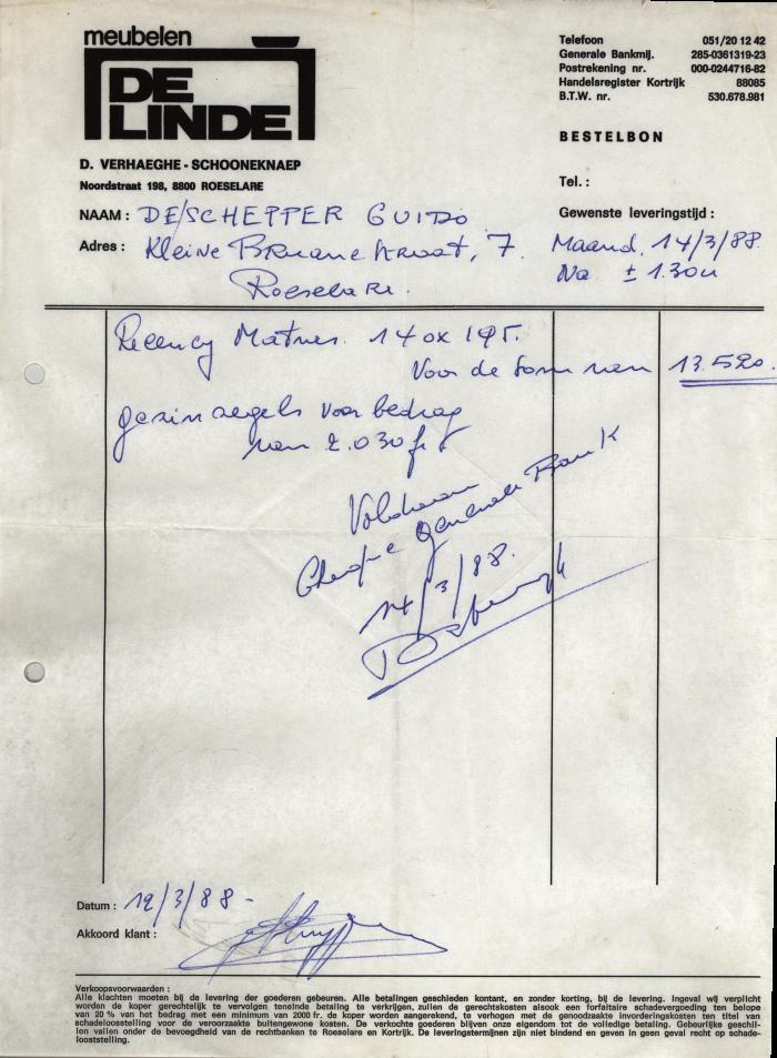 Bestelbonhoofding Meubelen De Linde, Roeselare, 1988