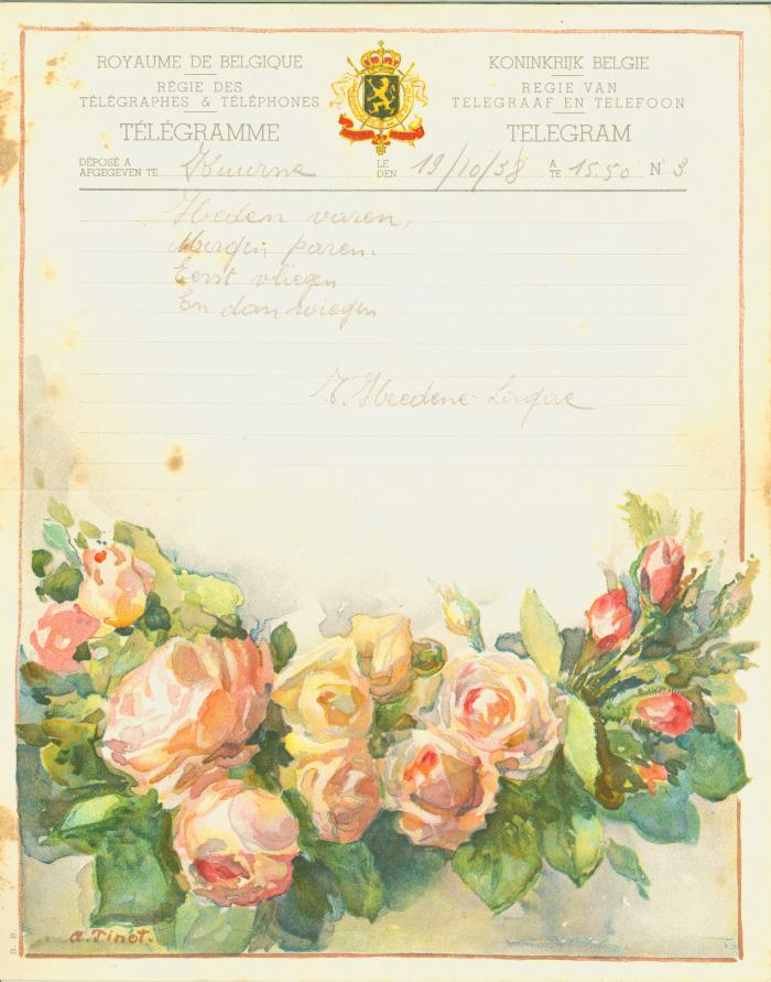 Huwelijkstelegram verzonden door T. Heedene-Lagae