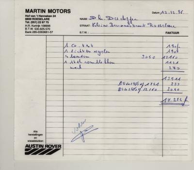 Factuurhoofding Martin Motors, Roeselare, 1986