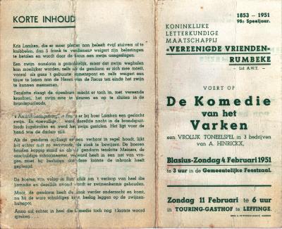 """Programma """"De Komedie van het Varken"""", Rumbeke, 1951"""