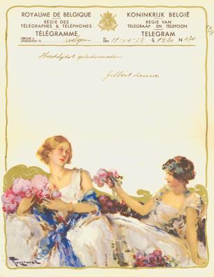 Huwelijkstelegram verzonden door Gilbert en Laura