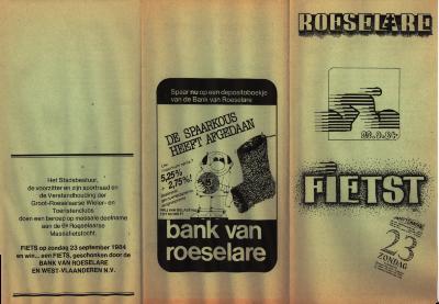 Flyer van Roeselare fietst, Roeselare,  1984-1985