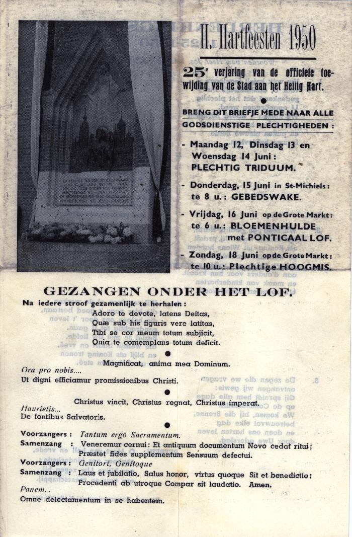 Flyer voor de 25 verjaring van de toewijding van het H. Hart Roeselare, 1950
