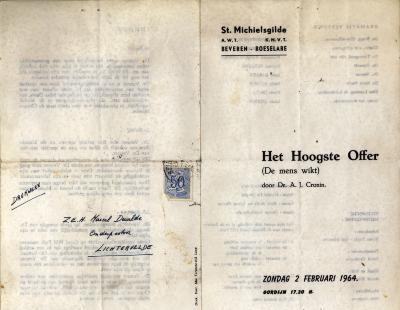 Programma toneelvoorstelling Het Hoogste Offer opgevoerd door de St Michielsgilde, Beveren Roeselare, 1964