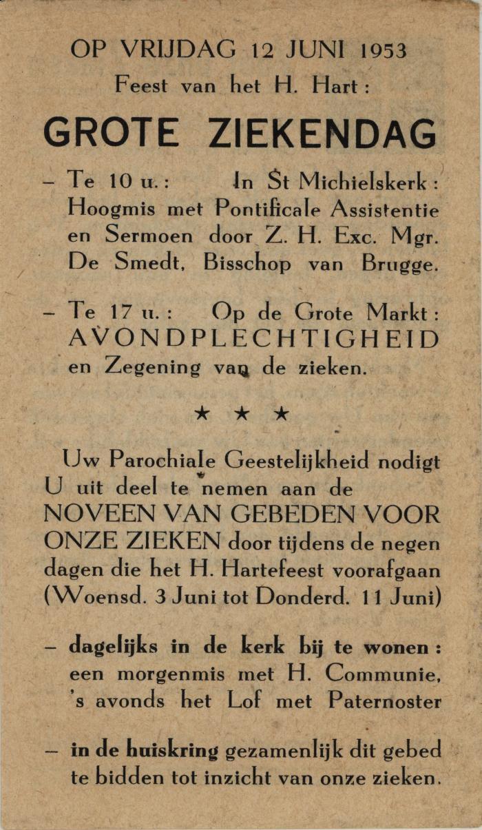 Bidprentje voor de Grote Ziekendag op het feest van het H. Hart Roeselare, 1953