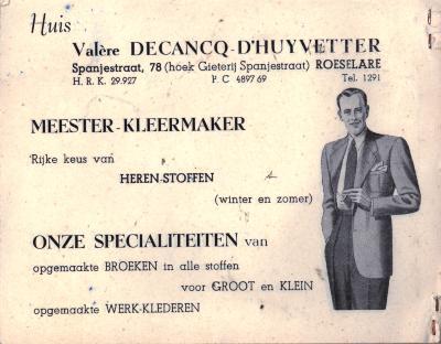 Promotie van Huis Valère Decancq-D'Huyvetter, Roeselare