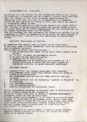 Informatie chromo's Talpe, Roeselare, 1953