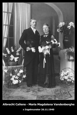 Huwelijksfoto Albrecht Callens en Maria Magdalena Vandenberghe, Ingelmunster, 1940