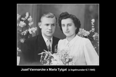 Huwelijksfoto Jozef Vanmarcke en Maria Tytgat, Ingelmunster, 1945