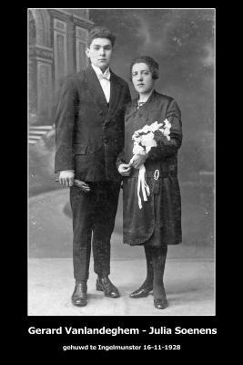 Huwelijksfoto Gerard Vanlandeghem en Julia Soenens, Ingelmunster, 1928