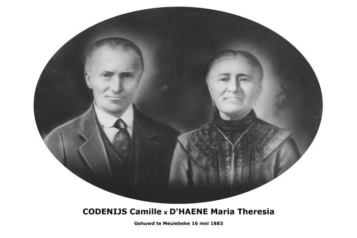 Huwelijksfoto Camille Codenijs en Maria Theresia D'Haene, Meulebeke, 1883