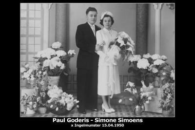 Huwelijksfoto Paul Goderis en Simone Simoens, Ingelmunster, 1950