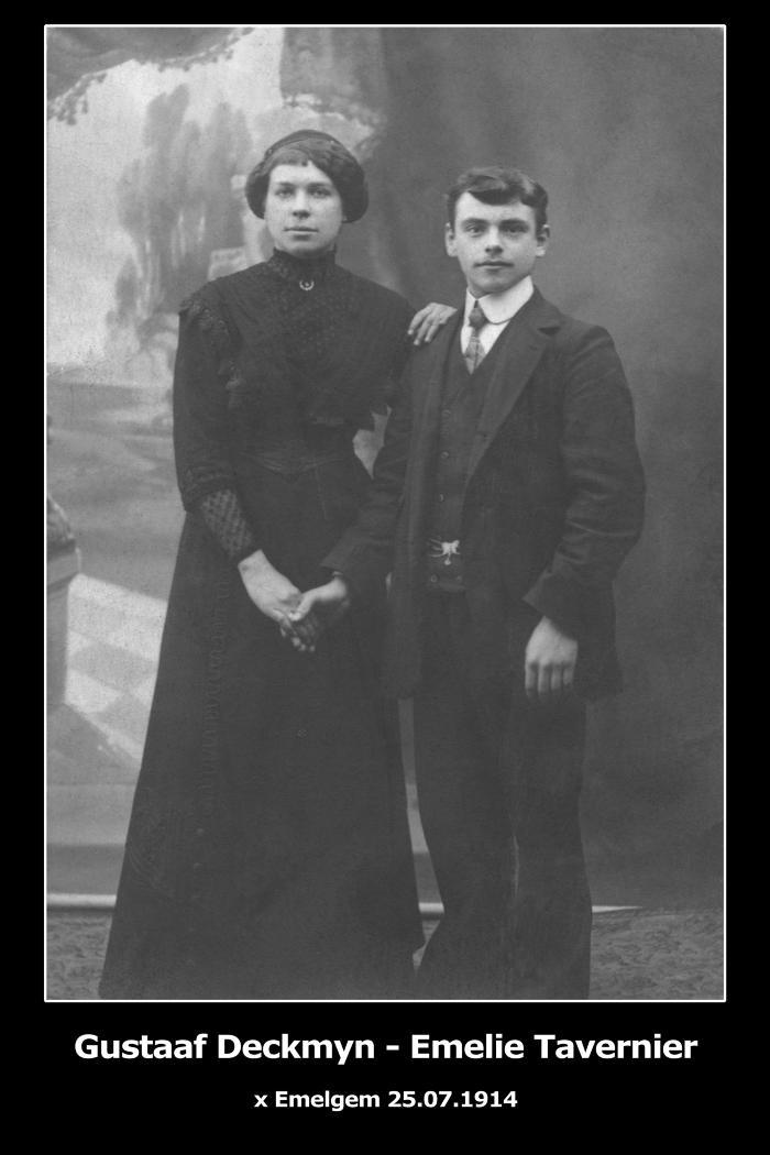 Huwelijksfoto Gustaaf Deckmyn en Emelie Tavernier, Emelgem, 1914