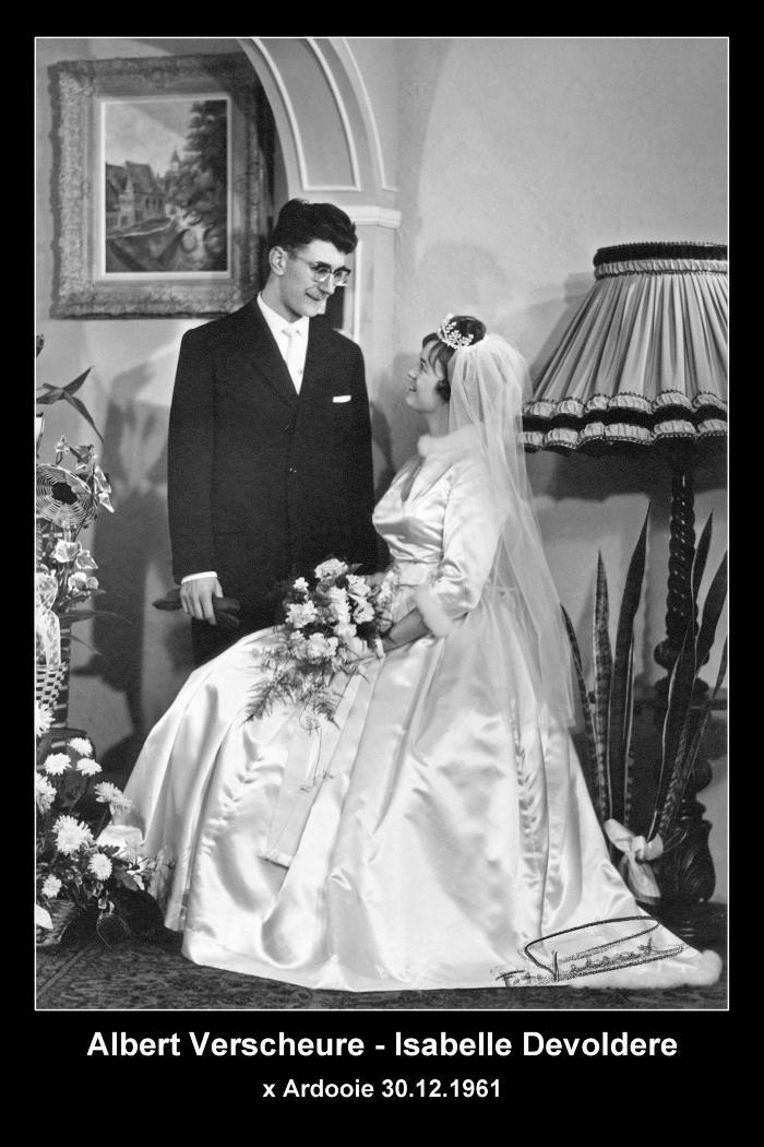 Huwelijksfoto Albert Verscheure en Isabelle Devoldere, Ardooie, 1961