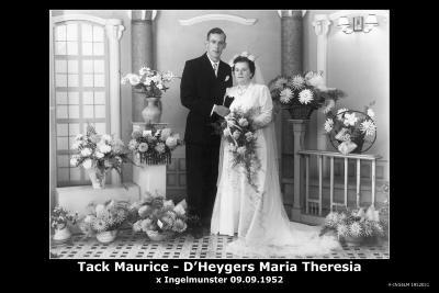 Huwelijksfoto Maurice Tack en Maria Theresia D'Heygers, Ingelmunster, 1952