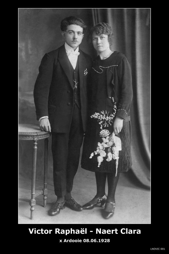 Huwelijksfoto Raphaël Victor en Clara Naert, Ardooie, 1928