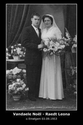 Huwelijksfoto Noël Vandaele en Leona Raedt, Emelgem, 1953
