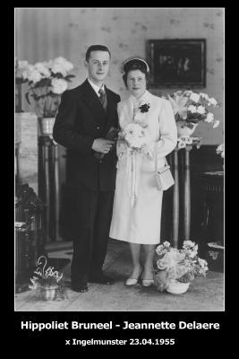 Huwelijksfoto Hippoliet Bruneel en Jeannette Delaere, Ingelmunster, 1955