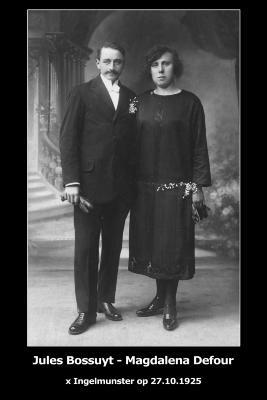 Huwelijksfoto Jules Bossuyt en Magdalena Defour, Ingelmunster, 1925