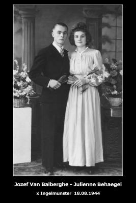 Huwelijksfoto Jozef Van Balberghe en Julienne Behaegel, Ingelmunster, 1944