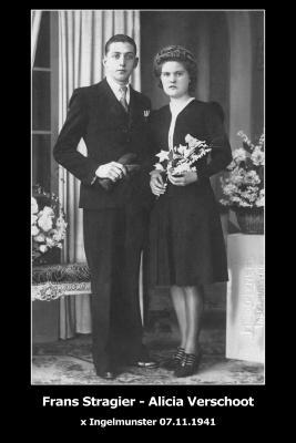 Huwelijksfoto Frans Stragier en Alicia Verschoot, Ingelmunster, 1941