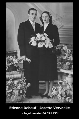 Huwelijksfoto Etienne Debeuf en Josette Vervaeke, Ingelmunster, 1953