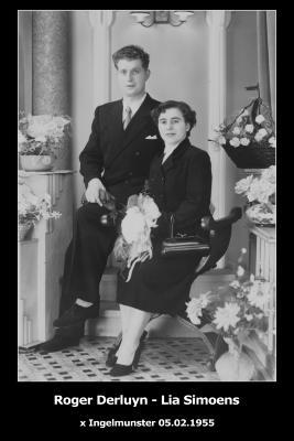 Huwelijksfoto Roger Derluyn en Lia Simoens, Ingelmunster, 1955