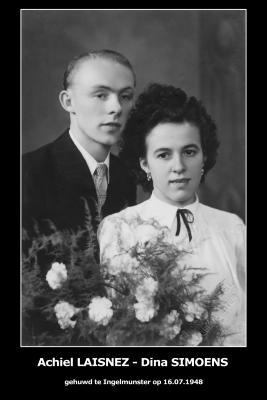 Huwelijksfoto Achiel Laisnez en Sina Simoens, Ingelmunster, 1948