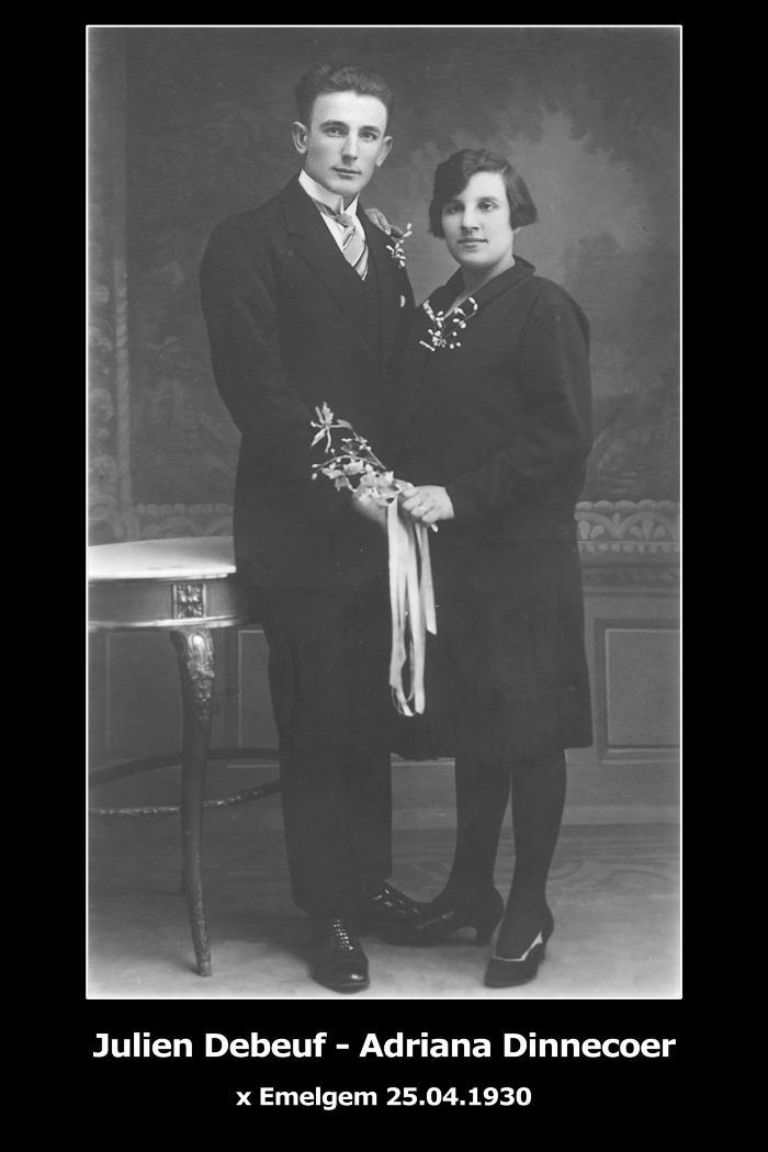 Huwelijksfoto Julien Debeuf en Adriana Dinnecoer, Emelgem, 1930