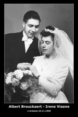 Huwelijksfoto Albert Brouckaert en Irene Viane, Ardooie, 1959