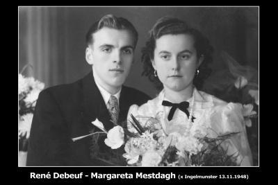 Huwelijksfoto René Debeuf en Margareta Mestdagh, Ingelmunster, 1948