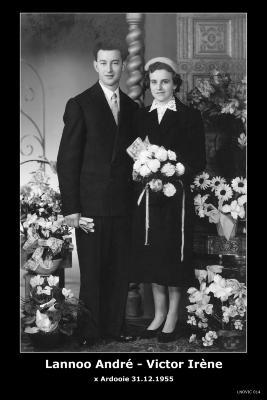 Huwelijksfoto André Lannoo en Irène Victor, Ardooie, 1955