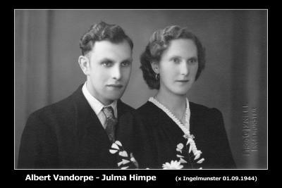 Huwelijksfoto Albert Vandorpe en Julma Himpe, Ingelmunster, 1944