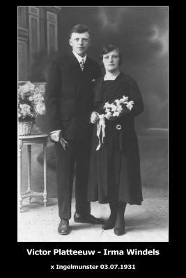 Huwelijksfoto Victor Platteeuw en Irma Windels, Ingelmunster, 1931