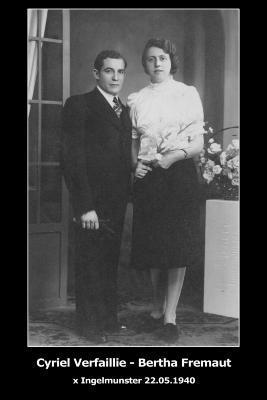 Huwelijksfoto Cyriel Verfaillie en Bertha Fremaut, Ingelmunster, 1940