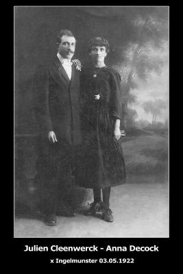 Huwelijksfoto Julien Cleenwerck en Anna Decock, Ingelmunster, 1922