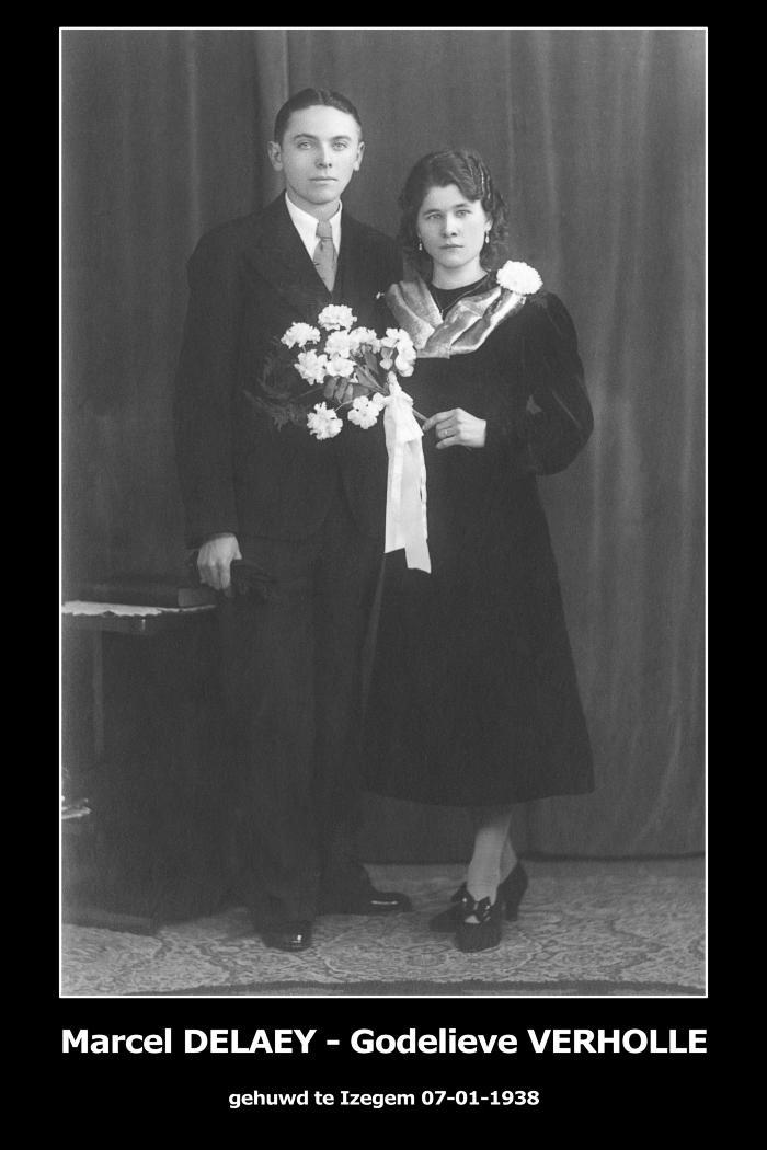 Huwelijksfoto Marcel Delaey - Godelieve Verholle , Izegem, 1938