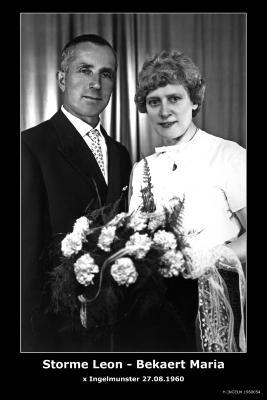 Huwelijksfoto Leon Storme -Maria Bekaert, Ingelmunster, 1960