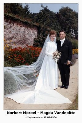 Huwelijksfoto Norbert Moreel - Magda Vandepitte , Ingelmunster, 1964