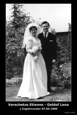 Huwelijksfoto Etienne Verschetze - Lena Geldof, Ingelmunster, 1960