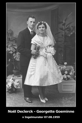 Huwelijksfoto Noël Declerck - Georgette Goeminne, Ingelmunster, 1959