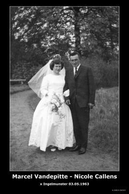 Huwelijksfoto Marcel Vandepitte - Nicole Callens , Ingelmunster, 1963