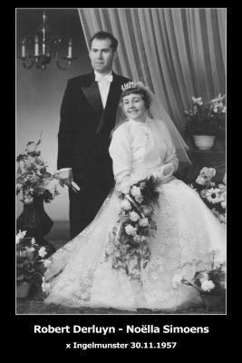 Huwelijksfoto Robert Derluyn - Noëlla Simoens, Ingelmunster, 1957