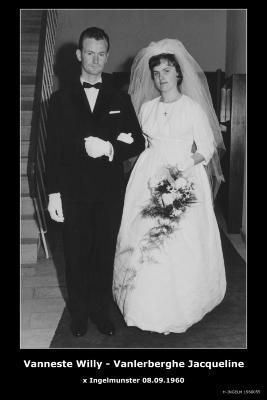 Huwelijksfoto Willy Vanneste - Jacqueline Vanlerberghe, Ingelmunster, 1960