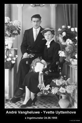 Huwelijksfoto André Vangheluwe - Yvette Uyttenhove, Ingelmunster, 1955