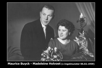 Huwelijksfoto Maurice Buyck - Madeleine Holvoet, Ingelmunster, 1959