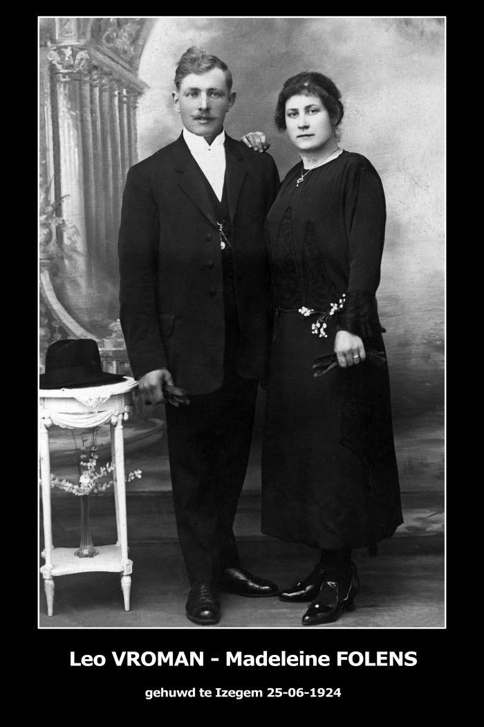 Huwelijksfoto Leo Vroman - Madeleine Folens , Izegem, 1924