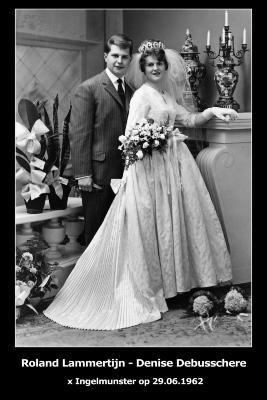 Huwelijksfoto Roland Lammertijn - Denise Debusschere , Ingelmunster, 1962